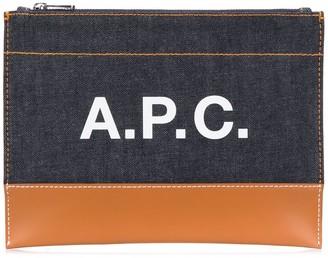 A.P.C. zipped logo clutch bag