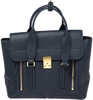 3.1 Phillip Lim Navy Blue Leather Medium Pashli Satchel