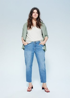 MANGO Violeta BY Organic cotton cardigan off white - S - Plus sizes