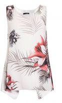 Quiz Cream Floral Palm Print Split Back Top