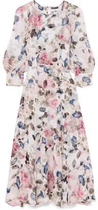 Erdem Yusra Floral-print Silk-voile Midi Dress - White