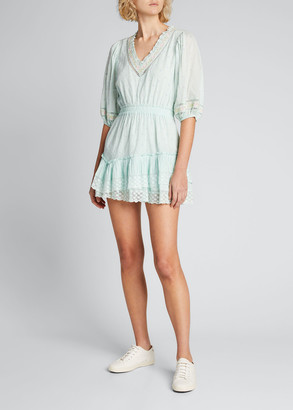 LoveShackFancy Adley Embroidered Cotton Short Dress