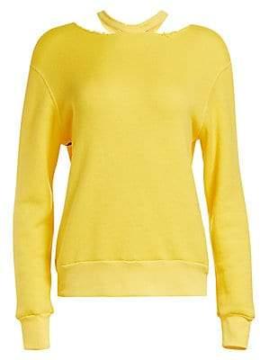 Unravel Project Women's Cotton Cashmere Cutout Sweatshirt