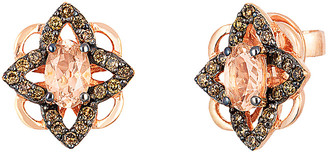 LeVian Le Vian Chocolatier 14K Rose Gold 0.94 Ct. Tw. Diamond & Morganite Studs