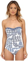 Tommy Bahama Stamped Medallion Shirred Bandeau One-Piece