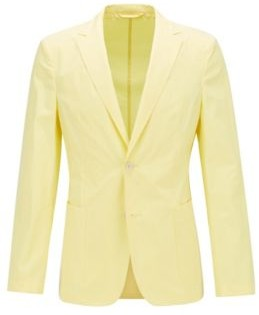 HUGO BOSS - Slim Fit Jacket In Pure Cotton With Patch Pockets - Yellow