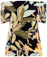 Warehouse Tropical Print Deep Bardot Top