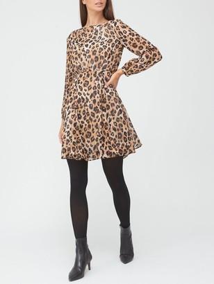 Very Round Neck Skater Mini Dress - Animal Print