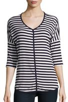 Bobeau Striped Dropped Shoulder Tee