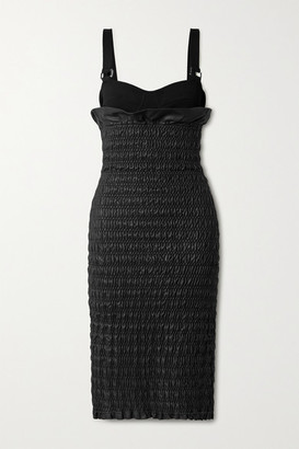 Proenza Schouler Layered Smocked Leather And Stretch-knit Dress - Black