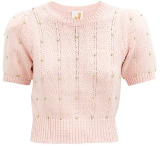 JoosTricot Beaded Cable-knit Cotton-blend Sweater - Pink