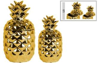 Urban Trend Urban trends collection: ceramic pineapple decor canister polished chrome finish