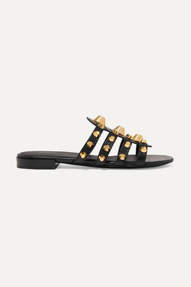 Balenciaga Giant Studded Croc-effect Leather Slides - Black
