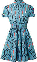 Valentino Smocked Printed Cotton-poplin Mini Dress - Light blue