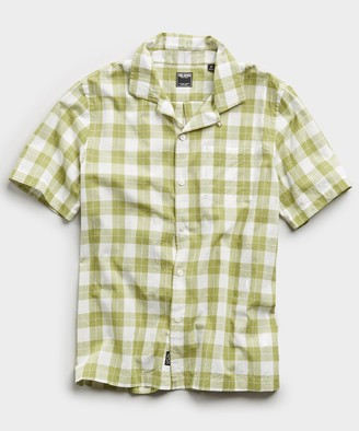 Todd Snyder Vintage Plaid Camp Collar Short Sleeve Shirt in Green