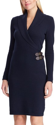 Chaps Women's Shawl Collar Faux-Wrap Dress
