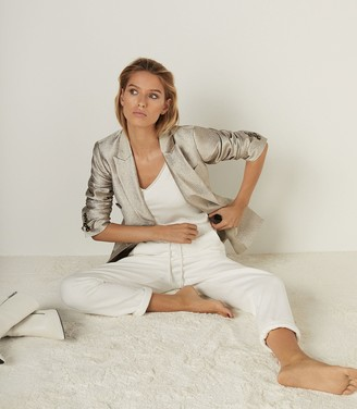 Reiss MAJA TEXTURED DOUBLE BREASTED BLAZER Gold
