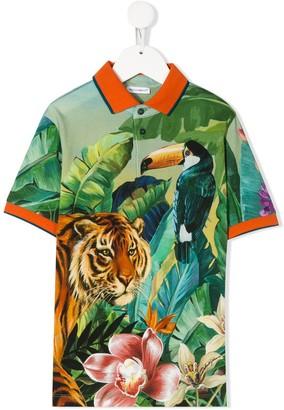 Dolce & Gabbana Kids Sicilian Jungle print polo shirt