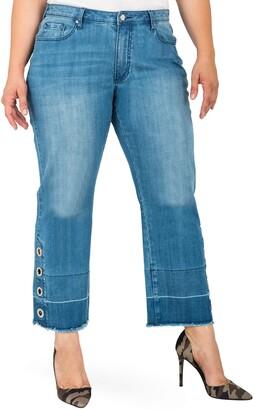Standards & Practices Meryl Grommet Detail Wide Leg Jeans
