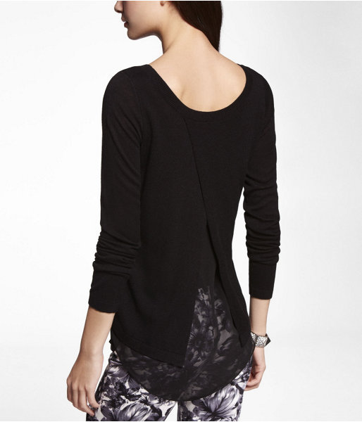 Express Chiffon Lined Tulip Back Sweater
