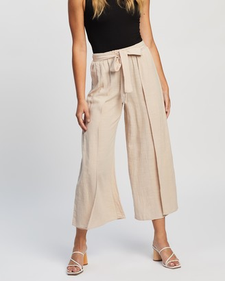 Atmos & Here Atmos&Here - Women's Neutrals Cropped Pants - Adriana Relaxed Cotton Pants - Size 10 at The Iconic