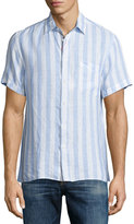 Luciano Barbera Short-Sleeve Stripe-Print Linen Shirt, Multi