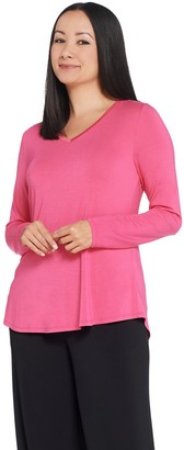 Halston H by Essentials V-Neck Long Sleeve Top