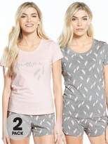 Very 2 Pack Feather Print Short Pyjama Sets