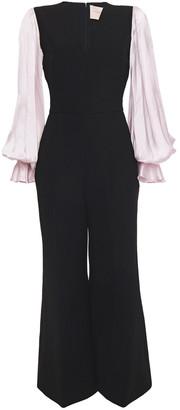 Roksanda Paneled Silk-satin And Crepe Wide-leg Jumpsuit
