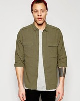 Asos Khaki Military Shirt In Regular Fit Linen Mix With Long Sleeves