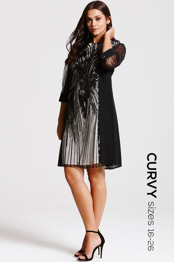 Thumbnail for your product : Little Mistress Curvy Black Heavily Embellished Panel Dress