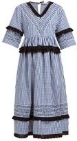 Molly Goddard Frank Cross-stitched Gingham Cotton Midi Dress - Womens - Navy