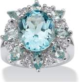 Seta Jewelry 8.60 Tcw Oval-cut Genuine Blue And White Topaz Ring In .925 Sterling Silver.
