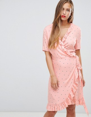 JDY Felicia polka dot wrap dress-Pink