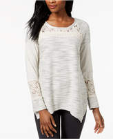 Style&Co. Style & Co Asymmetrical Lace-Contrast Knit Top, Created for Macy's