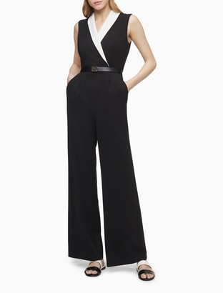 Calvin Klein Scuba Crepe Contrast Shawl Collar Belted Jumpsuit