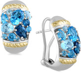 Effy Ocean Bleu By Blue Topaz Earrings (6 ct. t.w.) in Sterling Silver and 18k Gold