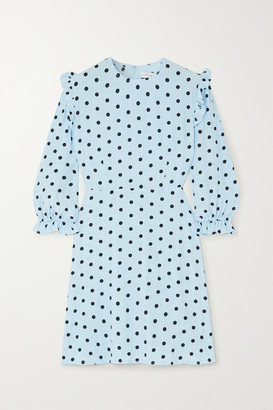 Faithfull The Brand Edwina Ruffled Polka-dot Crepe Mini Dress - Sky blue