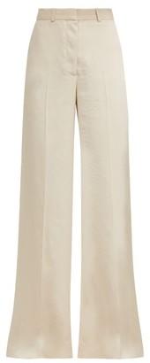 Stella McCartney Wide-leg Snake-jacquard Trousers - Womens - Ivory