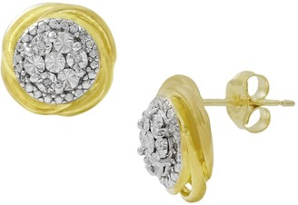 Savvy Cie 14K Yellow Gold Plated Sterling Silver Pave Diamond Round Stud Earings - 0.03 ctw