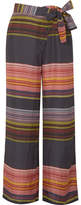 Apiece Apart Raka Striped Silk-habotai Wide-leg Pants - Pink