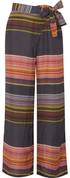 Apiece Apart Raka Striped Silk-habotai Wide-leg Pants - Pink