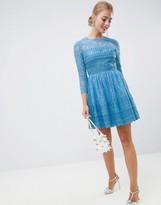 Asos Design DESIGN premium lace skater mini dress with long sleeves
