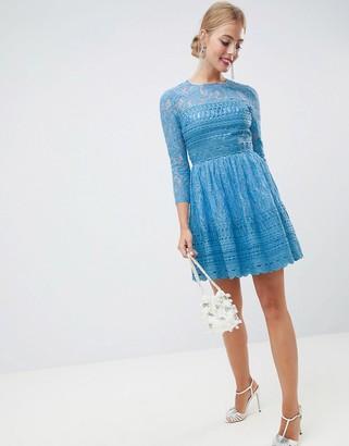 ASOS DESIGN premium lace skater mini dress with long sleeves