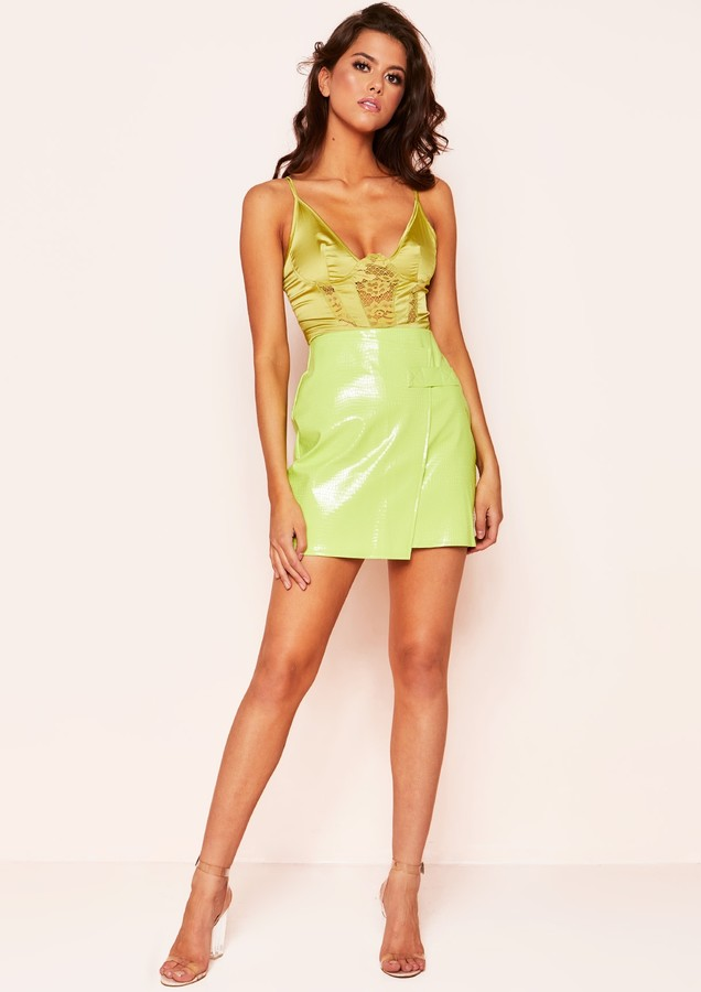 Missy Empire Maxi Lime Green Lace Panel Bodysuit