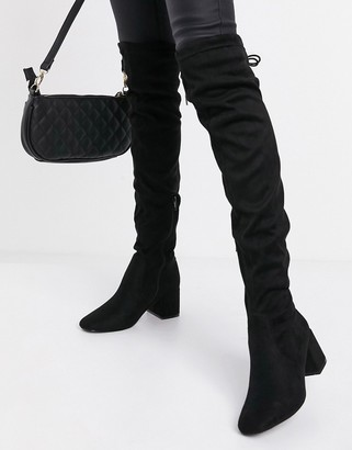 New Look knee high block heeled boot in black