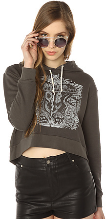Obey The Marked For Life Dolman Cropped Hoody in Graphite