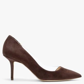 Rupert Sanderson Geminy Truffle Suede Mid Heel Court Shoes