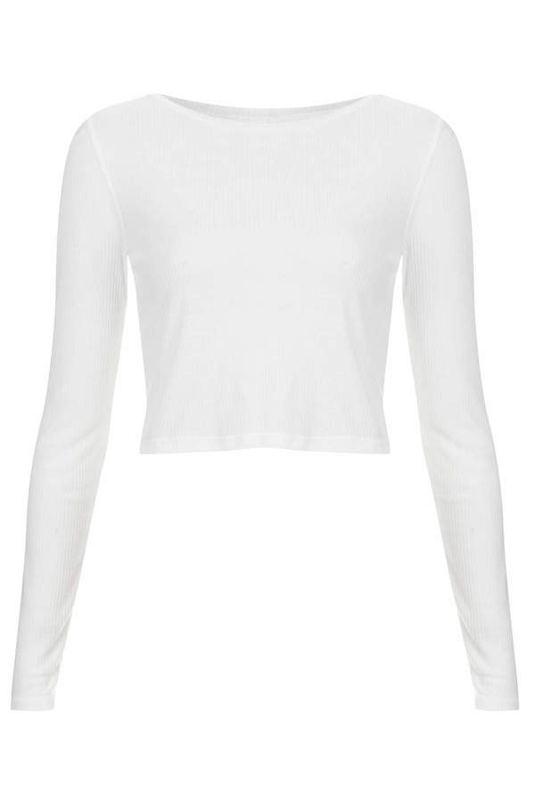 Topshop Long sleeve skinny rib crop top