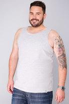 Yours Clothing BadRhino Grey Marl Plain Crew Neck Cotton Vest